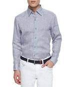 Solid Linen Sport Shirt, Dark Gray