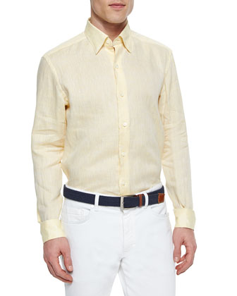 Solid Linen Sport Shirt, Yellow