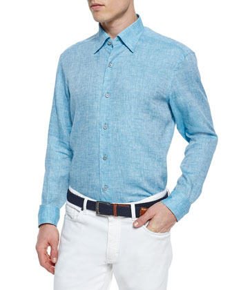 Solid Linen Sport Shirt, Turquoise