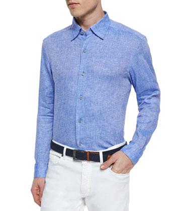 Solid Linen Sport Shirt, Navy