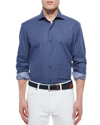 Geo-Print Long-Sleeve Sport Shirt, Navy/Light Blue