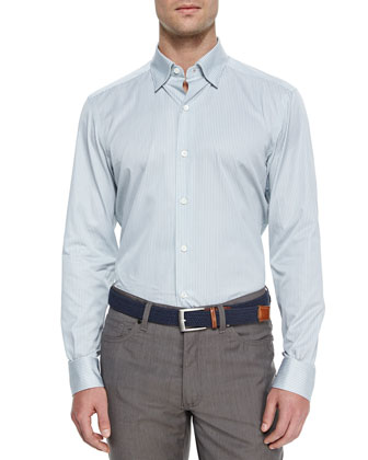 Fine Line-Striped Sport Shirt, Sage Green