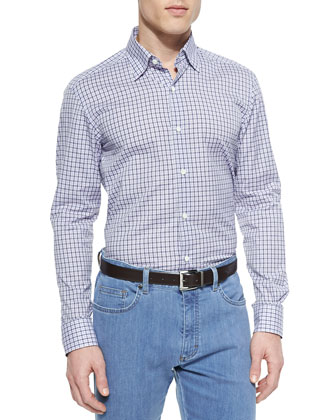 Box-Check Long-Sleeve Shirt, Lilac/Navy