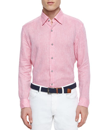 Solid Linen Sport Shirt, Coral