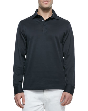 Long-Sleeve Polo Shirt & Slim Fit Five-Pocket Denim Jeans