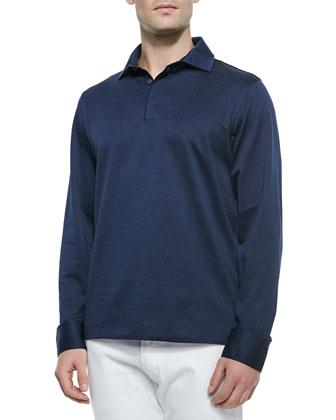 Long-Sleeve Knit Polo Shirt & Slim Fit Five-Pocket Denim Jeans