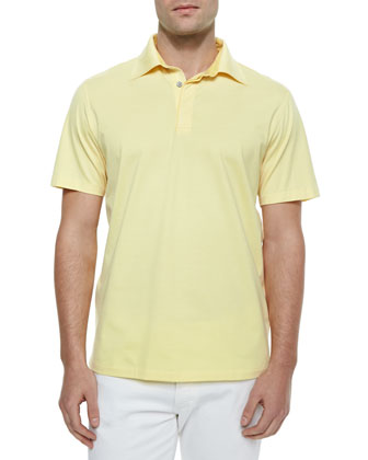 1x1 Knit Polo Shirt, Yellow