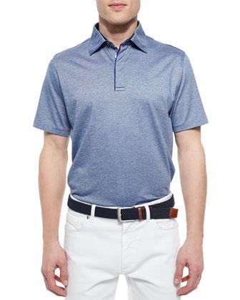 1x1 Knit Polo Shirt, Medium Blue