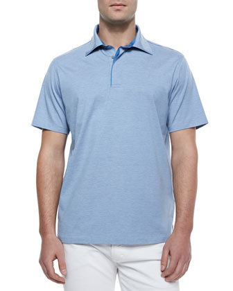 1x1 Knit Polo Shirt, Sky Blue
