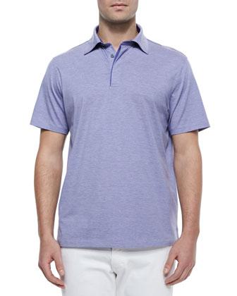 1x1 Knit Polo Shirt, Lilac