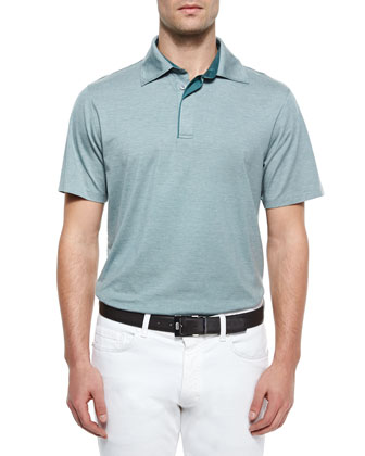 1x1 Knit Polo Shirt, Green