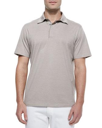 1x1 Knit Polo Shirt, Beige