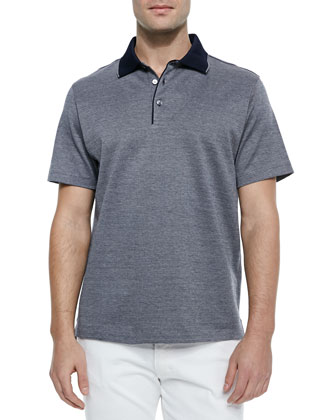 Birdseye Knit Polo Shirt, Navy