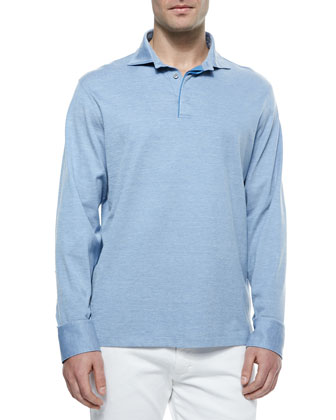 Long-Sleeve Pique-Knit Polo Shirt, Blue