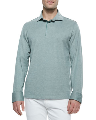 Long-Sleeve Pique Polo Shirt