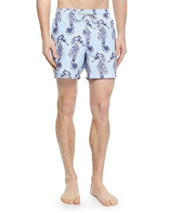 Moorea Seahorse-Print Swim Trunks, Blue