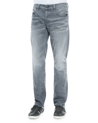 Attacc Straight-Leg Stretch Denim Jeans, Gray