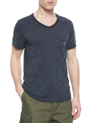 Short-Sleeve V-Neck Tee, Navy
