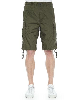 Overdyed Poplin Cargo Shorts, Dark Olive