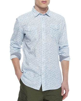 Allover Print Shirt with Contrast Cuffs, White