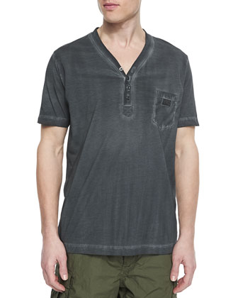 Pigment Dyed Short-Sleeve Henley Tee, Charcoal