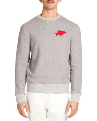 Washed Denim Jacket & Heartbreaker-Patch Crew Sweatshirt & Five-Pocket Slim ...