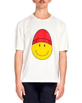 Large Smiley Face-Print Tee, White
