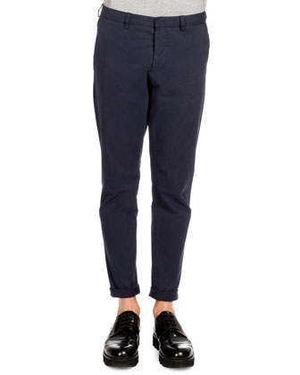 Tapered Cotton Chino Pants, Navy