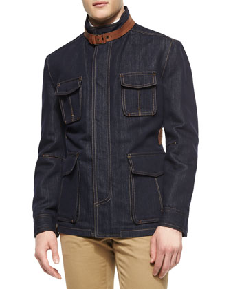 Four-Pocket Denim Safari Jacket with Leather Detail, Indigo