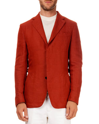 Linen-Blend Three-Button Jacket, Orange