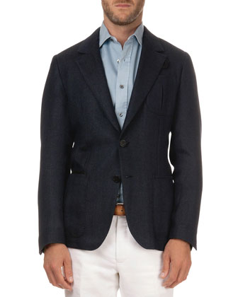 Textured Herringbone Jacket, Navy