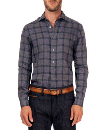 Linen Plaid Shirt, Purple Check