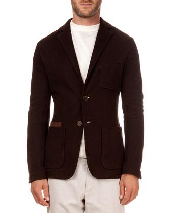Pique Jacket with Suede Pocket