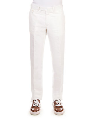 Linen-Cotton Blend Flat-Front Trousers, White