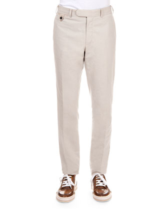 Fine-Stripe Cotton-Blend Trousers