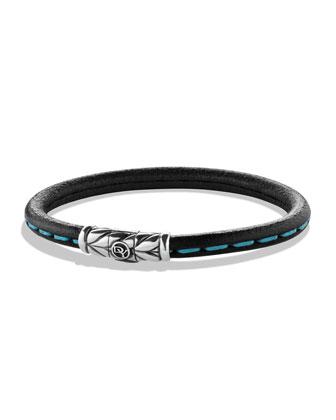 Men's Leather Bracelet with Blue Detail