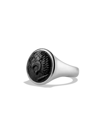 Petrvs Lion Signet Ring with Black Onyx