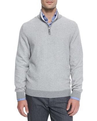 Cashmere Zig-Zag Quarter-Zip Sweater, Dark Gray
