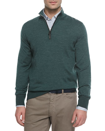 Cashmere-Blend Quarter-Zip Pullover, Green