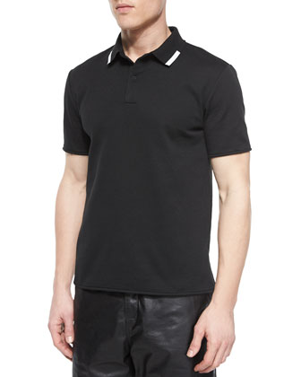 Tipped Collar Short-Sleeve Polo Shirt, Black