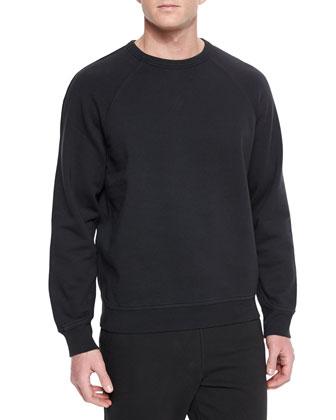 Washed Cotton Crewneck Sweatshirt, Black