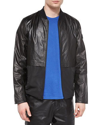 Leather/Nylon Mix Bomber Jacket, Short-Sleeve Crewneck Jersey Tee & ...