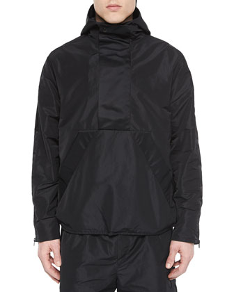 Nylon Hooded Pullover, Black