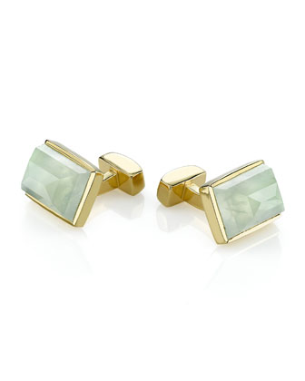 Vermeil Large Emerald-Shaped Cuff Links, Prehnite