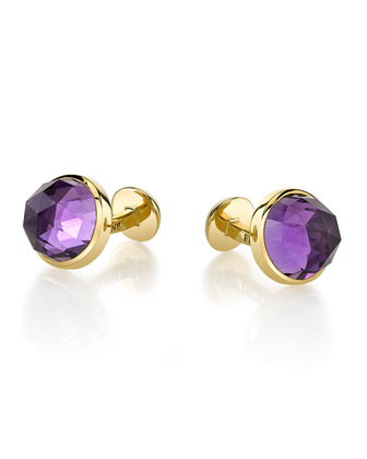 Round Rose-Cut Amethyst Cuff Links