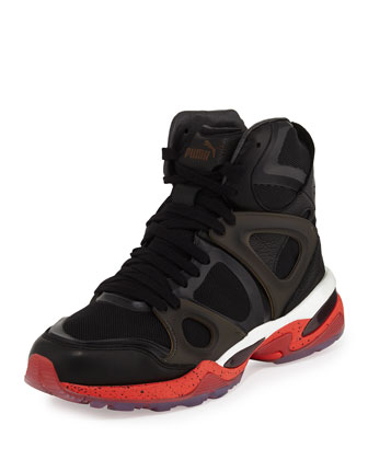 Run Mid High-Top Sneakers, Black