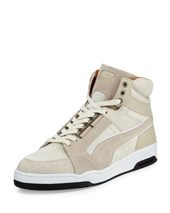 Slipstream Calf-Hair High-Top Sneaker, White