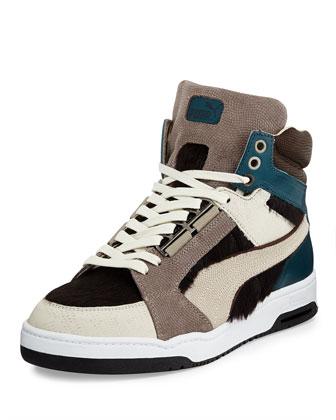 Slipstream Calf-Hair High-Top Sneaker, Dark Gray