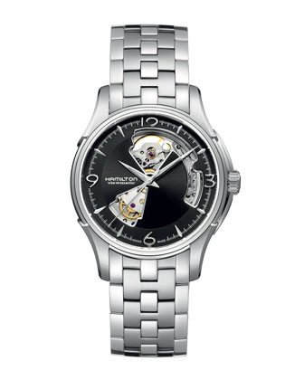 Jazzmaster Viewmatic Open-Heart Skeleton Watch with Bracelet Strap, Steel/Black