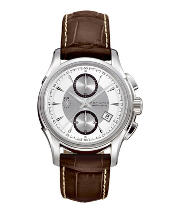 Jazzmaster Automatic Chronograph Watch with Leather Strap, Steel/Brown